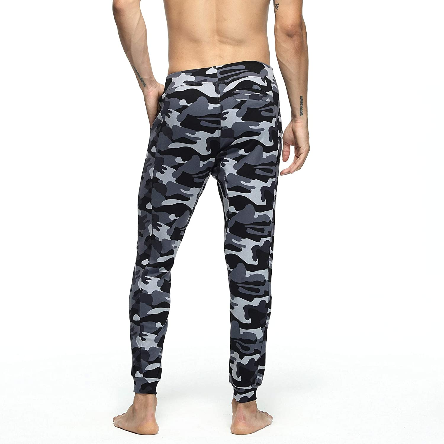 Yingshif Men Casual Low-Rise Camouflage Cotton Homewear Jogger Pants