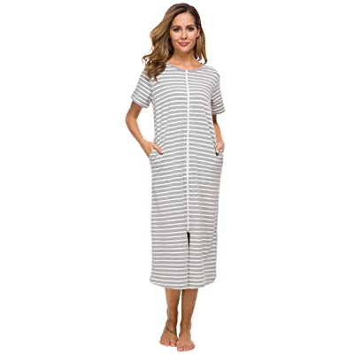Vslarh Robes for Women with Zipper Front Full Length House Coats Nightgowns at Women's Clothing store