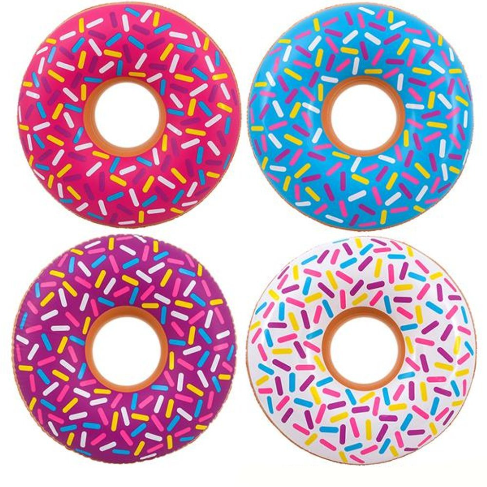 "Kidsco Inflatable Donut Kids Pool Float - Pack of 4 Multi-colored 18"" Frosted Looking Blow-up Swim Tube Toy for Swimming, Floating, Summer Beach Games, Party Decoration"