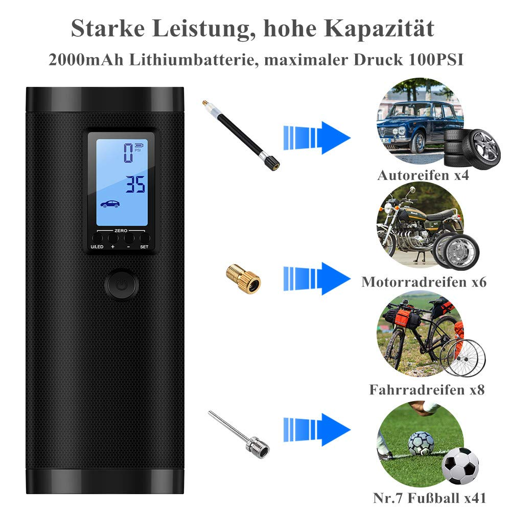 Motorrad Football usw VEEAPE Elektrische Digitale Luftpumpe mit 2000mAh Akku Als Taschenlampe und Powerbank auch. Basketball Fahrrad 0-100PSI Kompressor Luftpumpe mit LCD-Bildschirm f/ür Auto