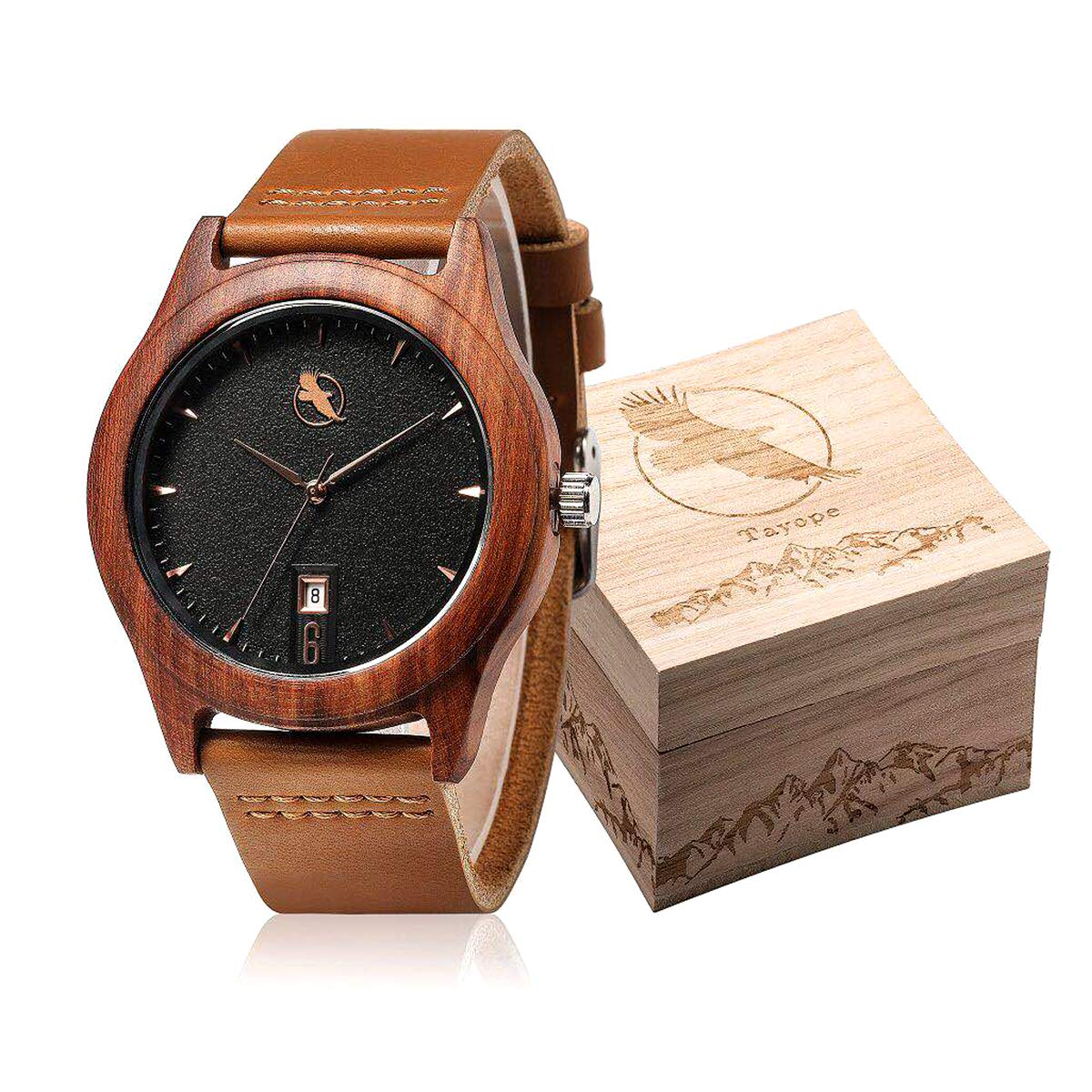 CDM product Tayope Wood Watches for Men Women, Bamboo Wood Leather Quartz Wristwatch in Engraved Box big image