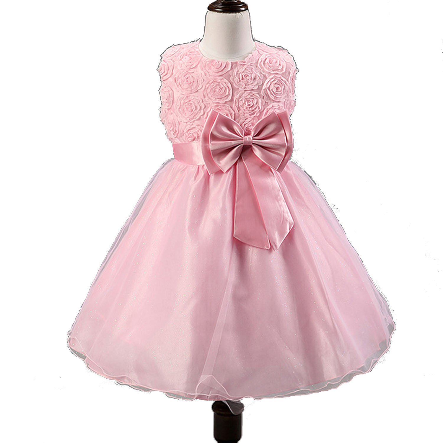Summer Flower Girl Dresses for Wedding Party Formal Gown for Little Girl First Communion Dress,Pink,Child-11