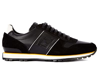 Fendi chaussures baskets sneakers homme en cuir noir EU 42 7E0749 H5P F0E7C 79d0a07ed74