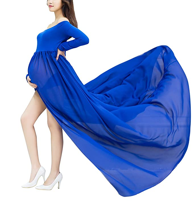 Women Open Split Front Photography Maxi Dress See Through Chiffon Pregnant Gown Blue at Amazon Womens Clothing store:
