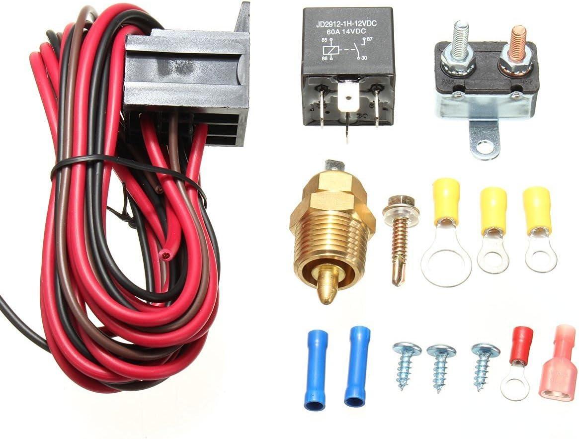 Amazingli 175 to 185 Degree Cooling Fan Thermostat Kit Temp Sensor Temperature Switch 40 AMP Relay Kit