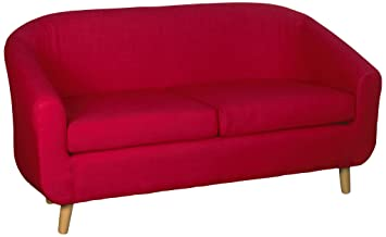 Harmony Furnishings Turin Fabric 2 Seater Sofa Red: Amazon.co.uk ...