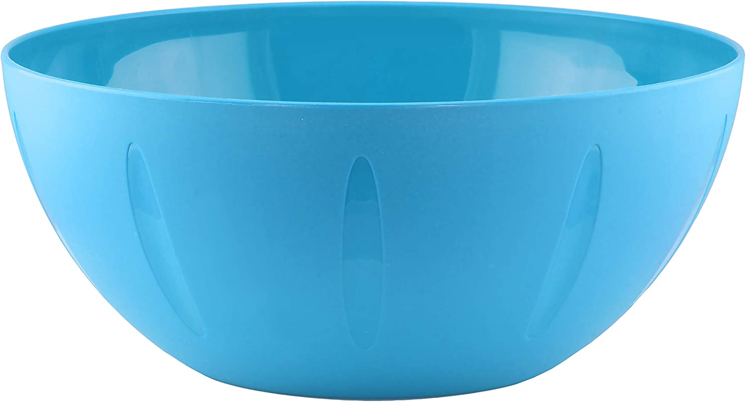 YBM Home 8-Inch Plastic Serve Mixing Bowls Set for Everyday Meals - Ideal for Cereal, Snacks, Popcorn, Salad, and Fruits, Microwave Safe, Blue