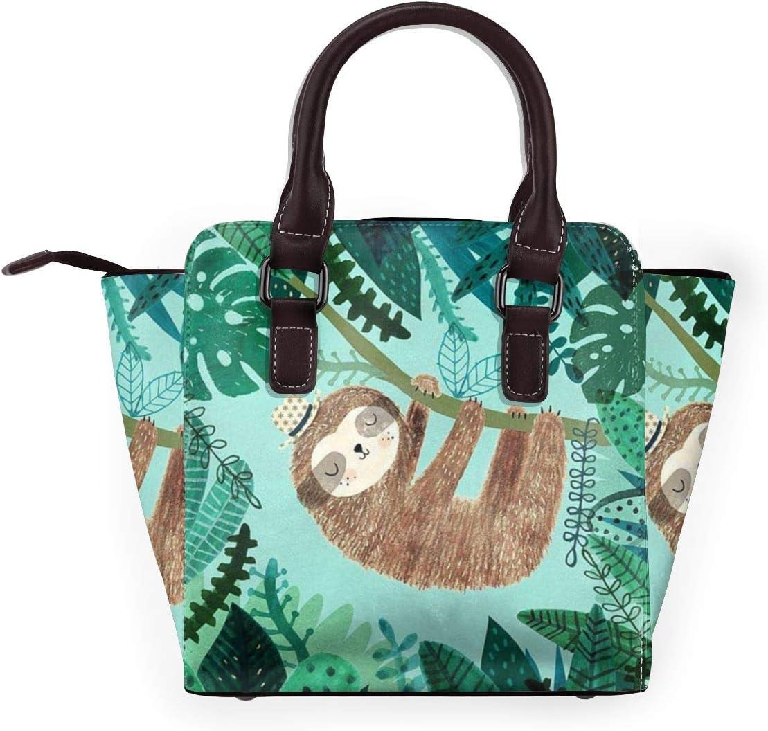 GHUJAOOHIJIO Hug Tree Sloth Womens Rivet PU Leather Tote Bag Shoulder Bag Purse