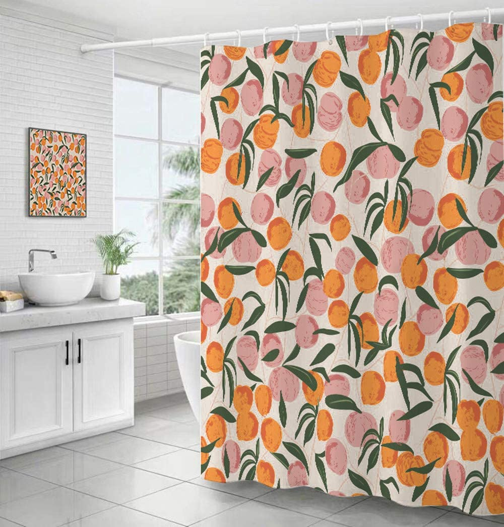 Decorative Peach Shower Curtain Waterproof Polyester Fabric, Home Bathroom Decor Hanging Curtain with Hooks 72 by 72 Inch, Hotel Quality, Machine Washable