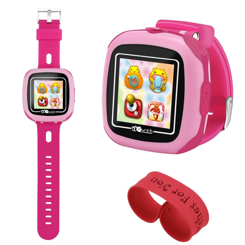 AOLEE Kids Smart Watch Games Timer Alarm (NEW)Clock Camera Pedometer Touchscreen-Bonus Wristband(Pink)