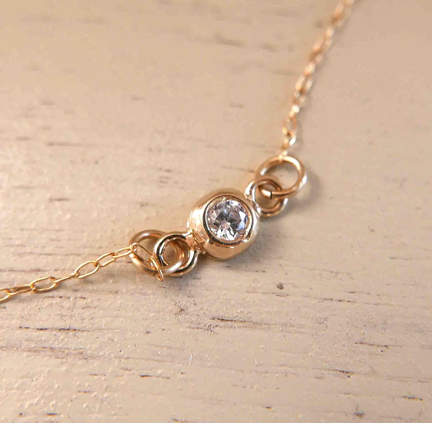 Gold Choker Necklace - Gold Solitaire Necklace - Gold Zircon Necklace - Simple Delicate Necklace - Gold Collar Necklace - Dainty Choker