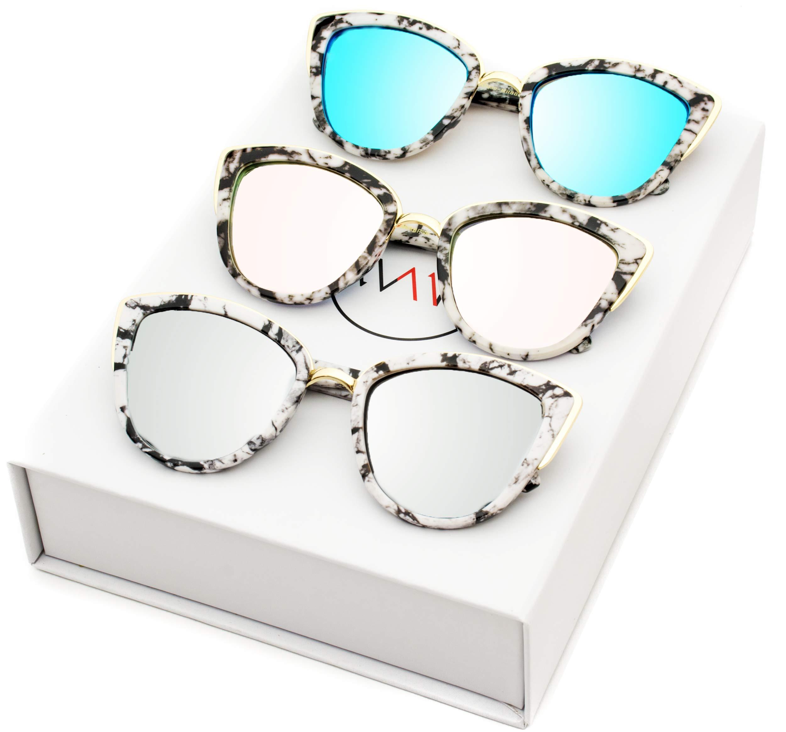 Womens Cat Eye Mirrored Revo Reflective Lenses Oversized Cateyes Sunglasses (Box: Mirror Purple/Mirror Blue/Mirror Silver, 54)