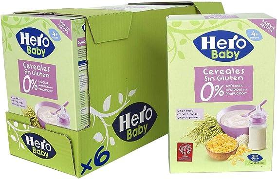 Hero Baby - Papilla de Cereales sin Gluten y sin Azúcares Añadidos, para Bebés a Partir de los 4 Meses - Pack de 6 x 340 g: Amazon.es: Alimentación y bebidas
