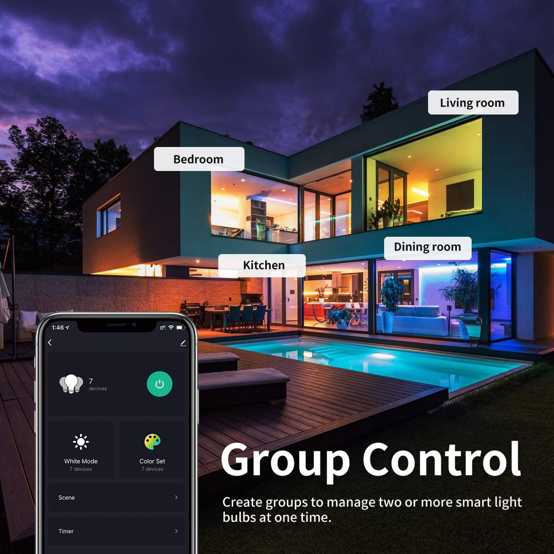 4er Smart WLAN LED GU10 Lampe, 5 Watt, 400 Lumen, RGB, CCT, Dimmbar, ENSHINE