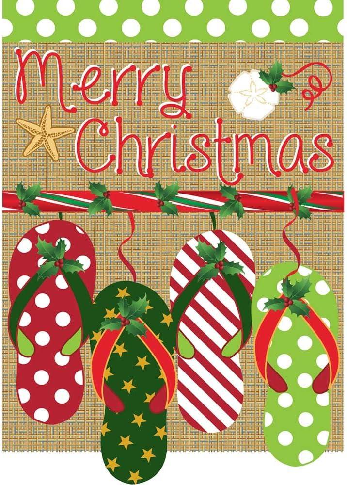 Merry Christmas Burlap Patterned Flip Flops 13 x 18 Applique Small Garden Flag