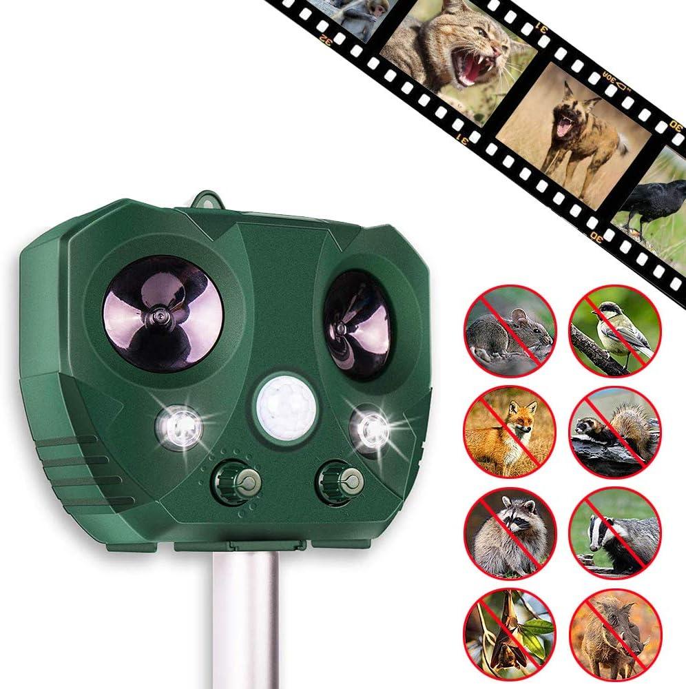 Sinicyder Ahuyentador solar por ultrasonido para gatos, ultrasonido luz intermitente sonido, USB Powered Repellent, 4 modos ajustables para gatos, pájaros, plagas
