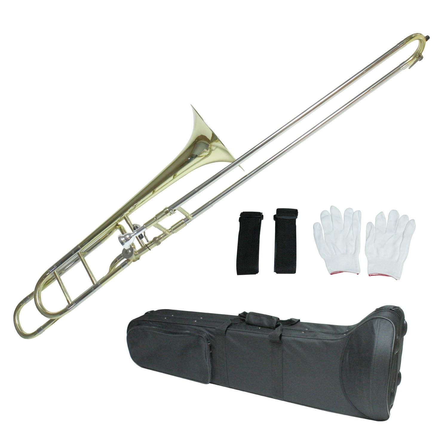 Flanger F-860 Intermediate B Flat Tenor Slide Trombone with F Trigger with Case, Mouthpiece, Gloves and Cleaning Cloth