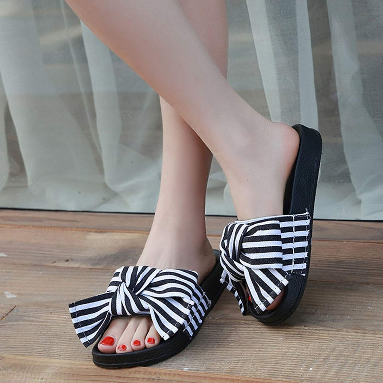 HelloHia Slipper Summer Bow Knot Slipper Slippers Beach Shoes,Blue,35,China