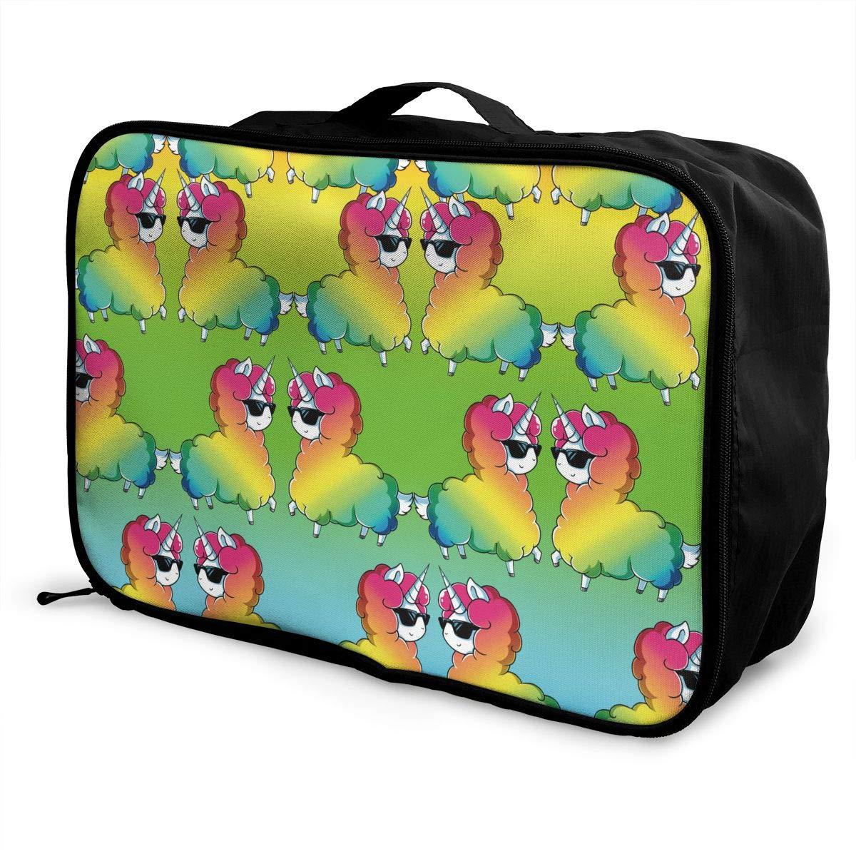Lightweight Large Capacity Duffel Portable Luggage Bag Cute Funny Llama Rainbow Alpaca Travel Waterproof Foldable Storage Carry Tote Bag