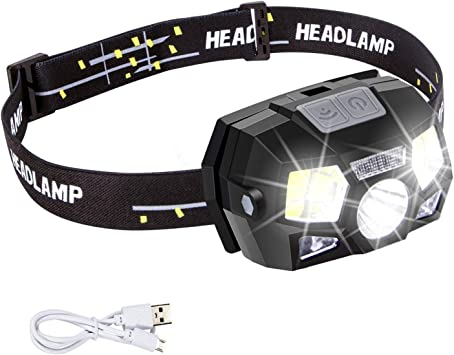 USB Rechargeable LED Head Torch Ultra Bright Motion Sensor Headlamp 5 Modes