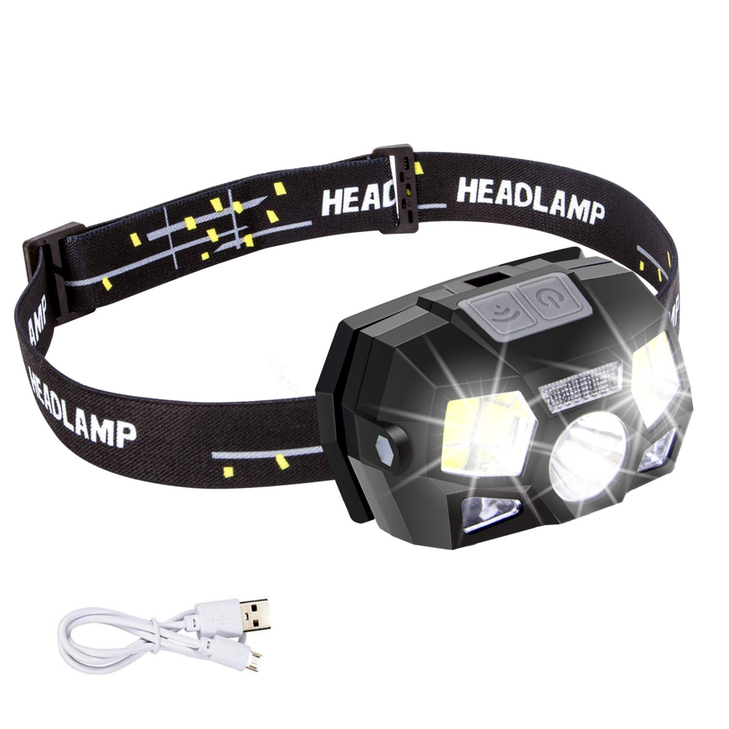 Headlamp Flashlight Rechargeable with USB,Motion Sensor Ultra Bright 600 Lumen LED+COB Work Headlight Use Time Up to 15H,5 Bright Modes,Waterproof Head Lamp for Running,Camping,Fishing,Hunting by SUNGME