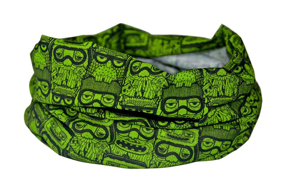 Bufanda verde con diseño de búhos funky de Ruffnek® calentador para cuello multifuncional - hombre, ...