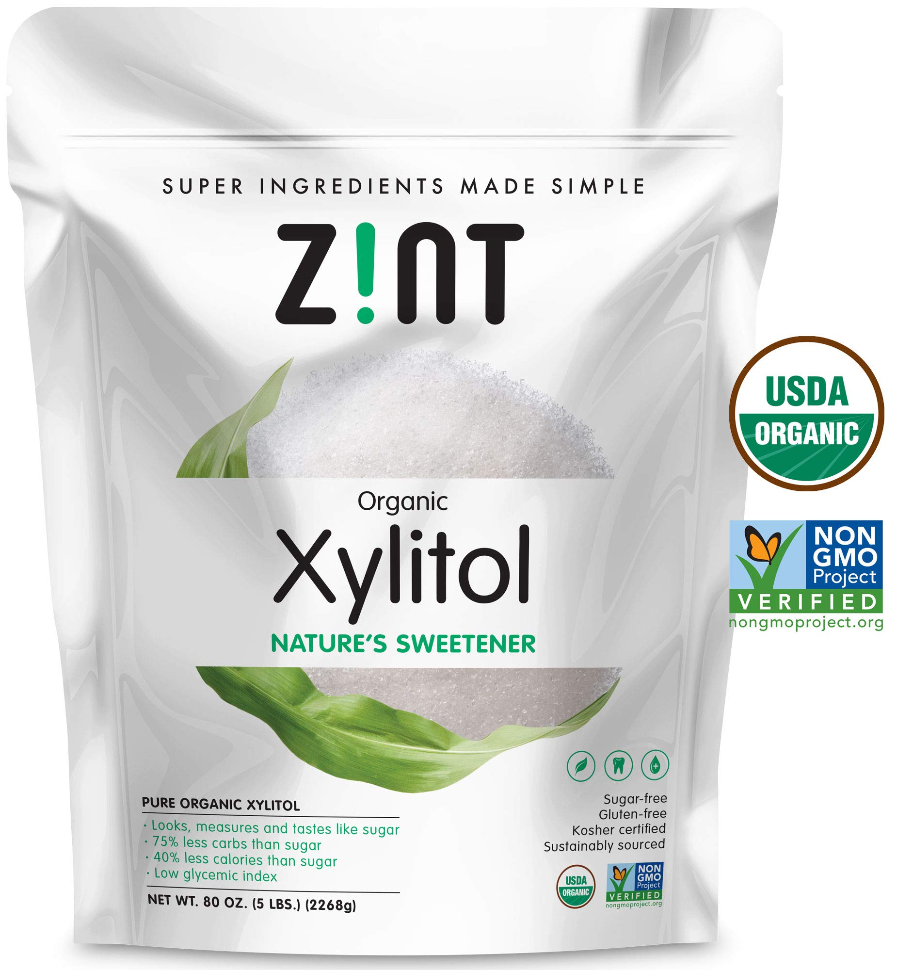 Zint Organic Xylitol Sweetener (5 lbs): USDA Certified Natural Sugar Free Substitute, Non GMO, Low Glycemic Index, Measures & Tastes Like Sugar, 80 Ounce by Zint