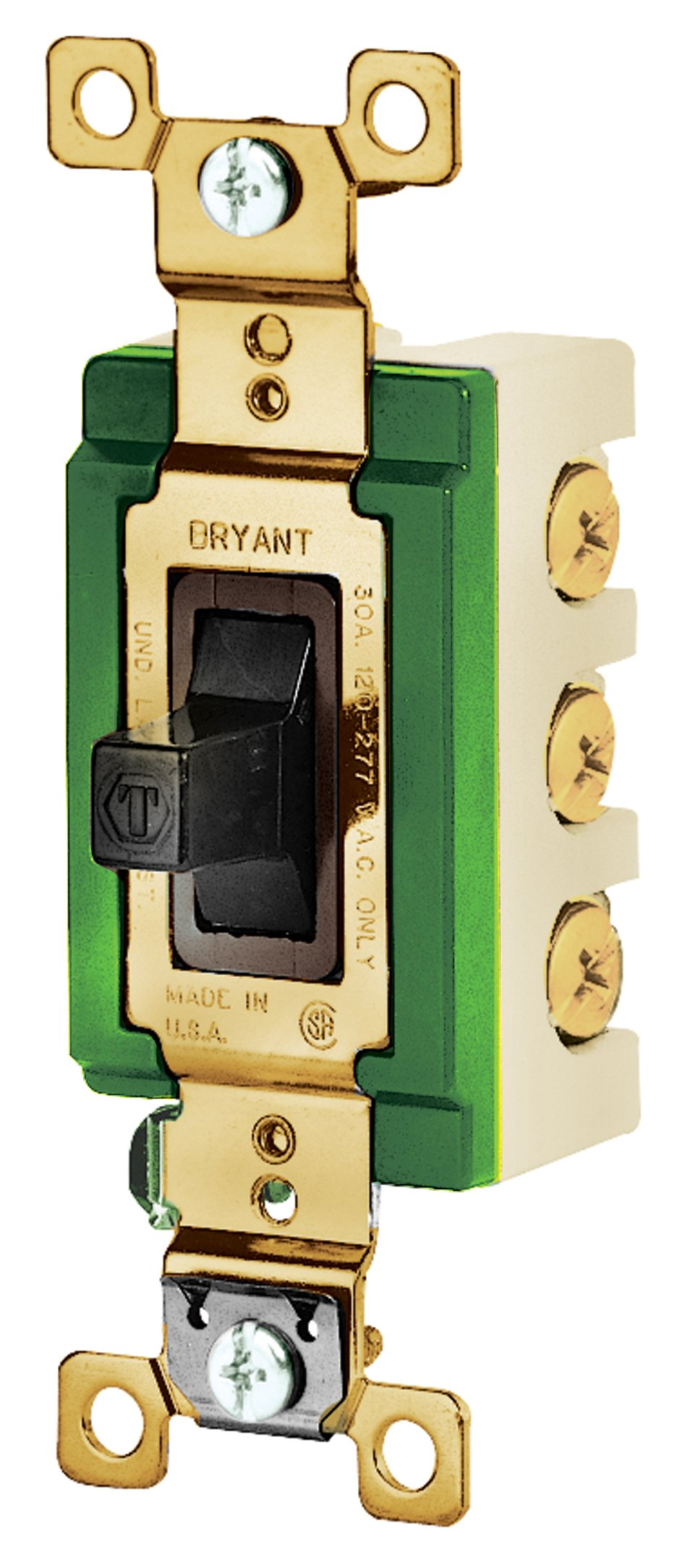 Bryant Electric 3025BRN Toggle Switch, Double-Pole, Double Throw, Industrial Grade, Back and Side Wired, 30 Amp, 120/277 VAC, Brown