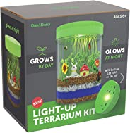 Light-up Terrarium Kit for Kids with LED Light on Lid - Create Your Own Customized Mini Garden in a Jar That Glows at Night -