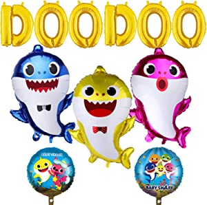 "Baby Party Supplies, 11 PCS Balloons for Baby Birthday Decorations Birthday Doo Doo Party Balloons Set, 3 pcs Baby Shark Family Balloons, 2 pcs Shark Round Balloons and 6 pcs ""DOODOO"" Balloons"