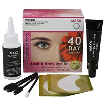 MAX6 Eyelash & Brow Dye/Tint Kit Permanent Mascara (Black) with accessories