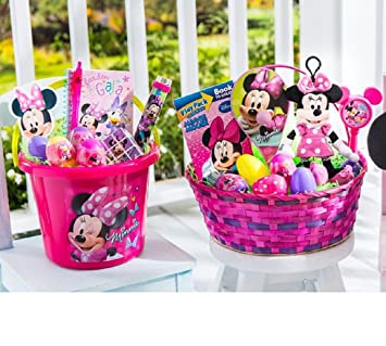 Filled easter baskets amazon minnie mouse overstuffed filled easter basket toys negle Choice Image