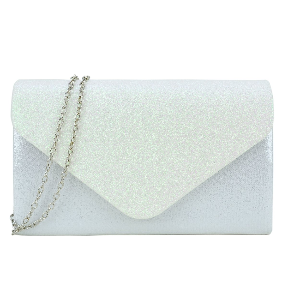 Dasein Women's Clutch Purses Evening Bags Envelope Frosted Handbag Party Prom Wedding Clutch (Ivory)