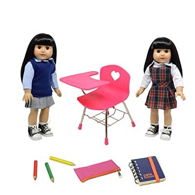 Doll Back to School Set - Doll School Desk ,School Supply Set for Dolls and School Uniform Clothing Fits 18 Inch Girl Dolls: Toys & Games