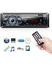 bedee Autoradio Bluetooth, Voiture Stéréo Récepteur Lecteur MP3 Radio FM Horloge, USB/SD/AUX/BT/Microphone, Mains Libres avec Télécommande