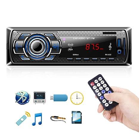Radio Coche Bluetooth Reproductor de Mp3 Autoradio FM Estéreo de Automóvil Receptor de Audio/Radio