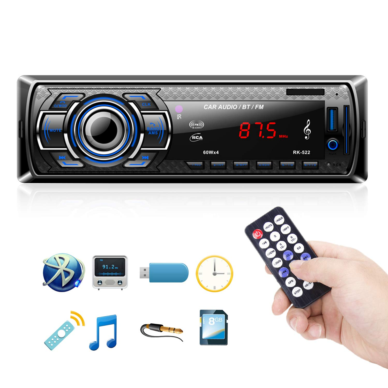 Autoradio Bluetooth, 1 Din Radio de Voiture Audio, Stereo FM Radio 4x60W Poste Radio Voiture Soutien Bluetooth/USB/SD/AUX/EQ / MP3 / TF + Télécommande product image