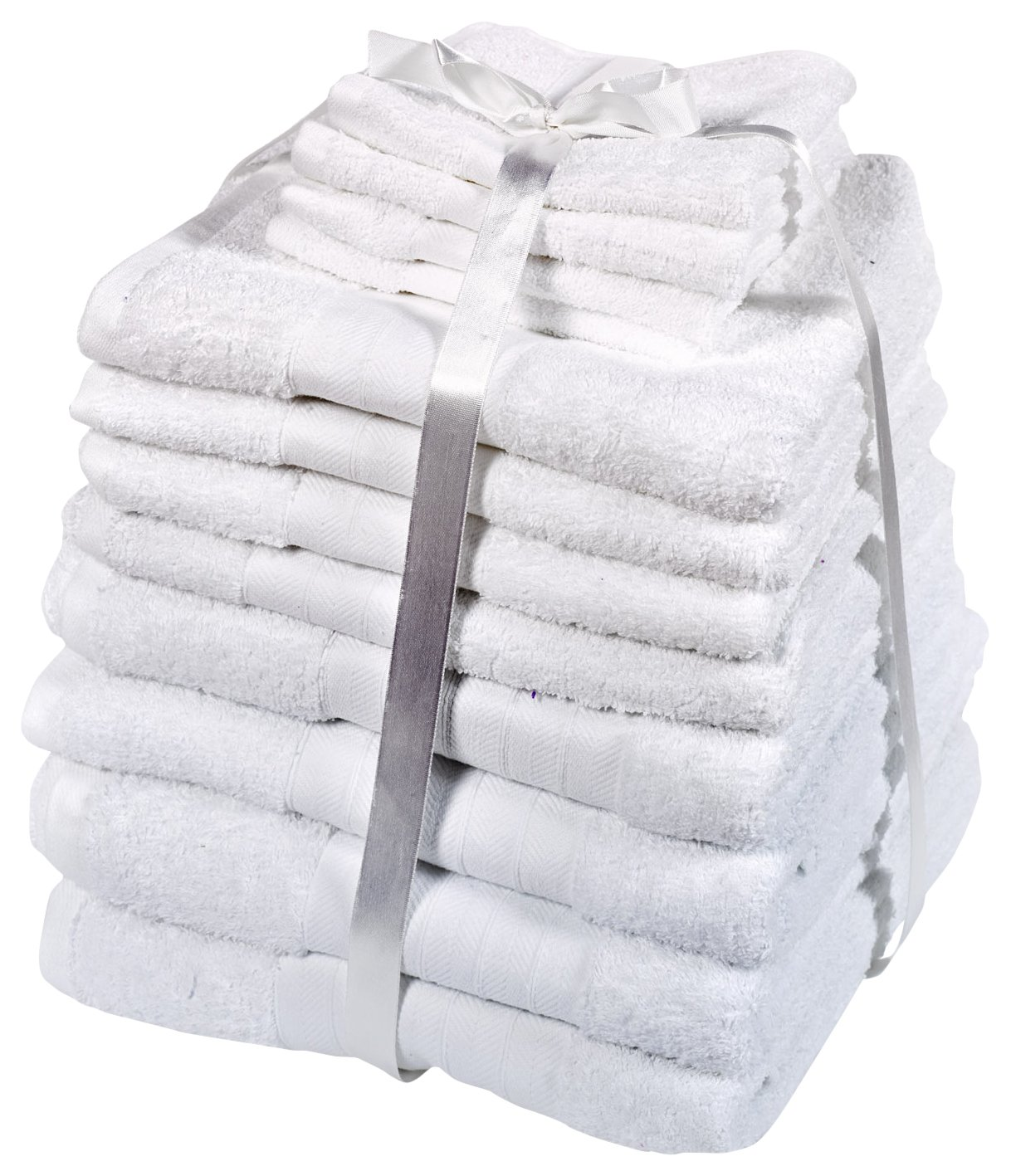 Luxuriously Soft 12 Piece Towel Bale Gift Set- 100% Egyptian Cotton White by Dreamscene