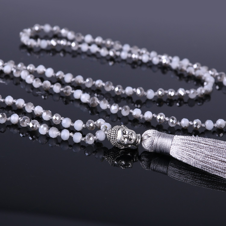 KELITCH Handmade AB Crystal String Beads Long Necklace with Buddha Head Tassel Pendant, Gray by KELITCH (Image #3)