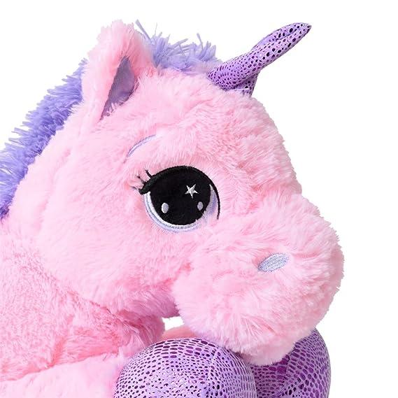 TE-Trend plüschpferd caballo unicornio unicorn peluche tumbado 45cm Púrpura glitzerhorn Grandes Ojos Rosa: Amazon.es: Juguetes y juegos