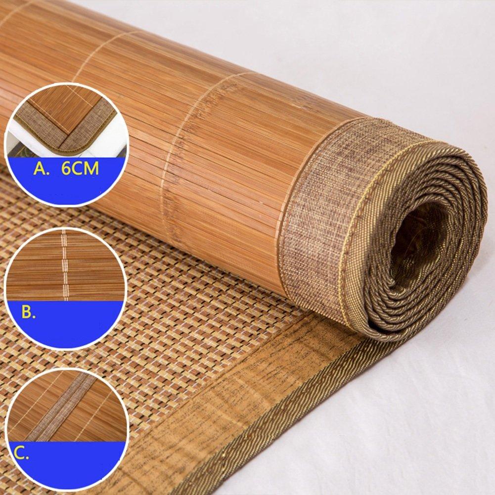 WENZHE Matratzen Bambus Matratzen Sommer-Schlafmatten Strohmatte Teppiche Zusammenklappbar Doppelseitige Verwendung Student Schlafsaal Zuhause, 2 Arten (Farbe   A, größe   1.2×1.9m)