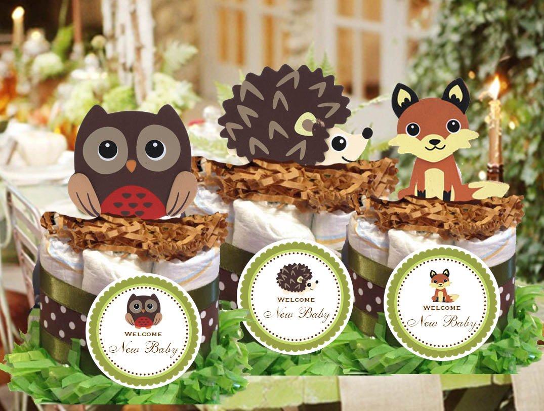 Forest Woodland Owl Hedgehog Fox Baby Shower Mini Diaper Cakes Centerpiece - Handmade By LMK Gifts 260040410