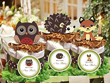 Amazon forest woodland owl hedgehog fox baby shower mini