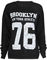 Fashion Mark - Femmes ''Brooklyn 76'' Imprimer Fleece Sweatshirt Hoodie Top - 7 Couleurs - Taille 36-42 (ML (40-42), Noir)