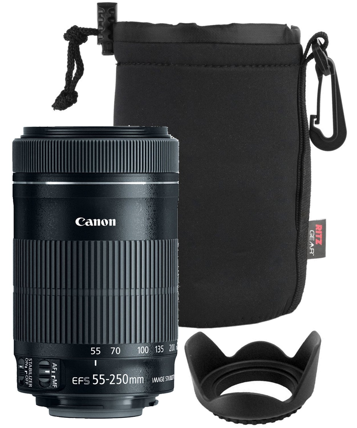 Canon EF-S 55-250mm F4-5.6 is Mark II Lens for Canon SLR Cameras + 58mm Polaroid Tulip Lens Hood + Ritz Gear Large Neoprene Protective Lens Pouch Bundle by Canon