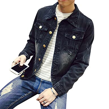 Amazon.com: YouzhiWan007 Solid Casual Slim Mens Denim Jacket ...