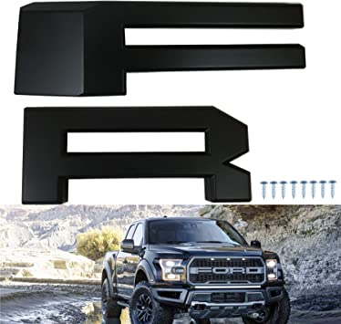 Black Front Grille Grill F R Letters F/&R for F-150 2015 2016 2017 Topfire Fury Grid Gladiator Vader