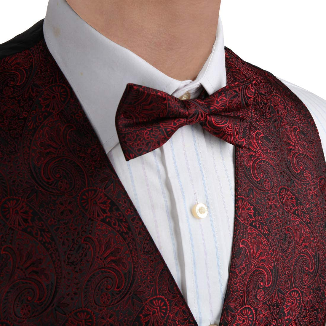 Epoint EGE2B01A-S Brown Paisley Microfiber Waistcoat Pre-tied Bow Tie Set Graduation Gift