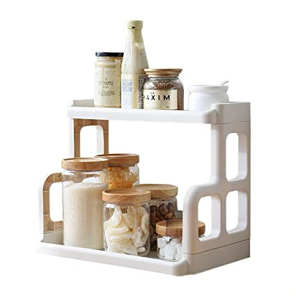 Spice Rack,2 Tier Plastic Countertop Storage Shelves Organizer,Free  Standing,White