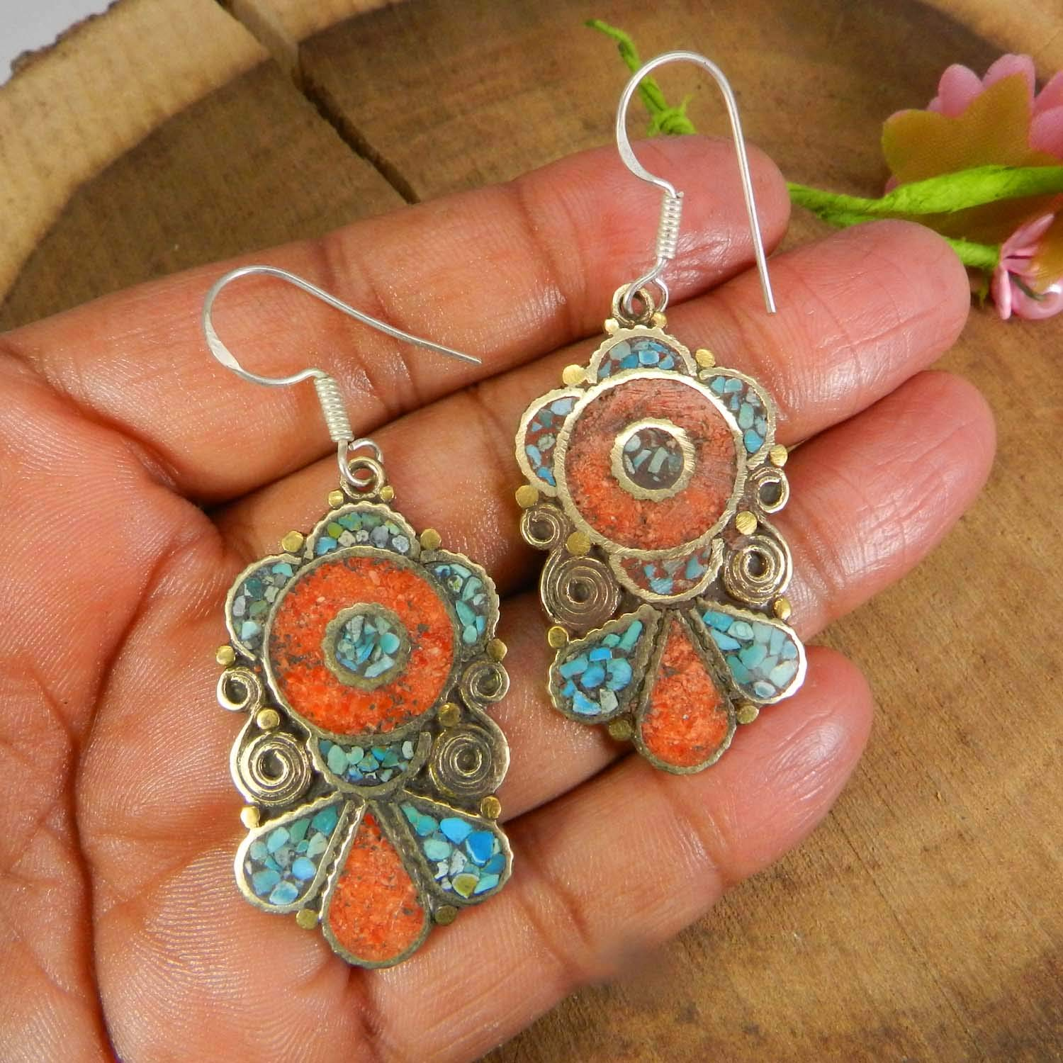 Vintage Designer Coral and Turquoise Inlay German Silver Dangle Earring
